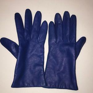 New J Crew Blue Leather Gloves!💕 medium .